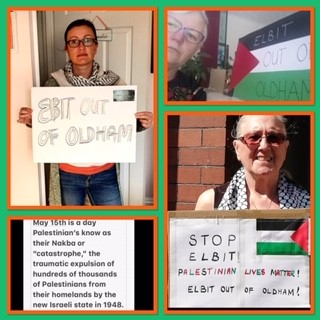 Elbit out of Oldham Online vigil 15 May 3